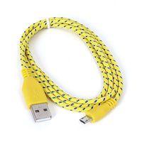 Cable USB 2.0 A-plug to Micro B-plug Fabric Braided 1m Yellow/Blue Omega