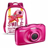 Dig. Camera Nikon Coolpix S33 Waterproof PInk Family Kit w/Backpack