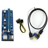 PCI Express PCI-E x1 to PCI-E x16 Riser Card Extender with SATA to 6 Pin / USB 3.0 Cable
