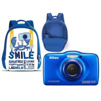 Dig. Camera Nikon Coolpix S33 Waterproof Blue Family Kit w/Backpack