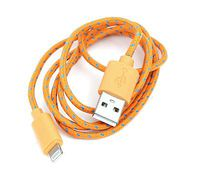 USB Cable for Iphone 5 and 6 Lightning Orange & Blue Fabric Braided Omega