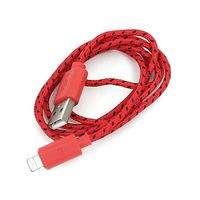 USB Cable for Iphone 5 and 6 Lightning Red & Black Fabric Braided Omega