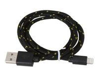 USB Cable for Iphone 5 and 6 Lightning Black & Yellow Fabric Braided Omega