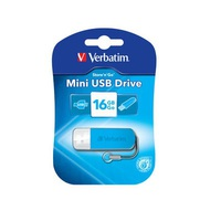 USB Drive 16GB Verbatim Store n Go Mini USB 2.0 Caribbean Blue
