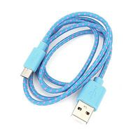Cable USB 2.0 A-plug to Micro B-plug Fabric Braided 1m Blue/Pink Omega