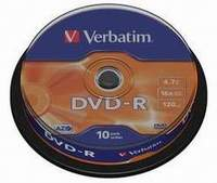 Verbatim DVD-R 16X 4.7GB 10PK spindle matt silver