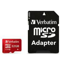Secure Digital Micro for Tablet/Samrtphone Verbatim 32GB Vlass10 and UHS-1 with adapter RED