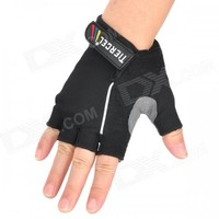 TIERCEL Anti-Slip Half-Finger Bicycle Riding Cycling Gloves - Black (Size M / Pair)
