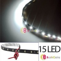 New 3020 SMD 15 Led Lamp String Waterproof Flexible Car Strip Light 30CM White