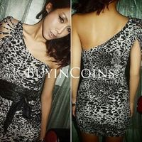 Women Sexy One Shoulder Leopard Clubbing Cocktail Mini Dress Tube DS0119