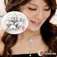 Cute Lady Fashion Lovely Camellia Rhinestone Tassels Pendant Long Necklace Hot