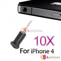 10 X Black Headphone Headset Dust Cap For iPhone 4 4G 4S 4GS/4th