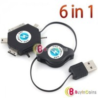 6 in 1 USB Charging Retractable Cable Travel Kit for Apple iPhone Nokia #1
