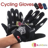 Bicycle Bike Full Finger Cycling Gloves Pad Mesh w/ Gel