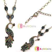 Lovely Vintage Style Ethnic Green Glaze Bronze Peacock Pendant Short Necklace
