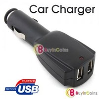 Dual 2 Port USB Car Charger for iPhone iPod MP3 MP4