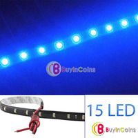 New 3020 SMD 15 Led Lamp String Waterproof Flexible Car Strip Light 30CM Blue