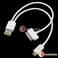 USB 2.0 to Micro USB + iPhone 3G 3GS 4G 4S iPad Sync Charger Data Transfer Cable