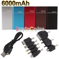 Portable Emergency External Battery Charger 6000mAh Power Bank for iPhone HTC LG 2