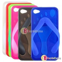 Flip Flop Slippers Sandals TPU Silicone Case For iPhone 4G 4S 4GS