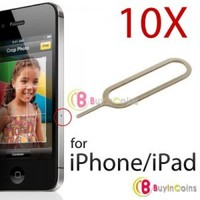 10 PCS Sim Card Tray Eject Pin Key Tool for Apple iPhone 2G 3G 3GS 4G 4GS 4S Silver