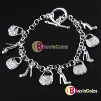 Fashion Charm Women Silver Plated Heeled Shoes Hand Bags Bracelet Bangle Gift