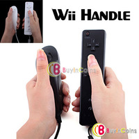 Remote and Nunchuck Controller for Nintendo Wii w/ Case Black/White