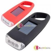 Solar Power LED Flashlight Camping Light w Carabiner #4 1