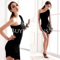 Sexy Women Slim Inclined Shoulder Flower Backless Package Hip Mini Dress 120