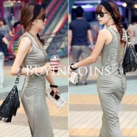 New Fashion Slim Back Bandage Sleeveless Maxi Long Skirt Tank Dress 554