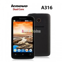 "4.0"" Lenovo A316 Dual Core Android 2.3 MTK6572W Smartphone WCDMA GPS 512MB"