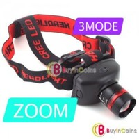 3 Mode CREE LED Zoom AAA Headlight Headlamp Torch Light