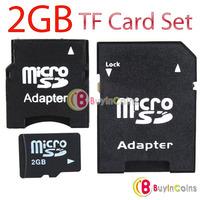 New MicroSD Card TF Card 2GB Flash Card + MiniSD Adapter + SD Adapter KIt Set