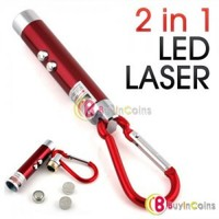 2 in 1 Red Laser Pointer LED Flashlight Torch Keychain