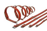 Огрлица кожна црвена 32см х10мм