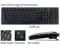 LuxeMate i220, Stylish slim multimedia keyboard, apple style keycaps for soft touch and silent typing, 10 hot keys, metal keyboard base
