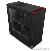 NZXT S340 ELITE MATTE BLACK/RED MID TOWER, tempered glass panel,  1x Audio/Mic