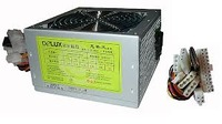Delux DLP-31A Real 270W, label 850W, Safety CE, Passive PFC, 2*SATA, 4*DATA, 20+4pins, PCI-E,P8, 12cm fan, EU cable, 230V, DELUX logo, industrial packing