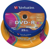 Verbatim DVD-R,4.7Gb 16x Verbatim cake of 25 wrap 43808