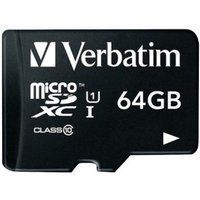 Secure Digital Micro Verbatim 64GB SDXC Ultra High Speed I Class10 w/Adapter