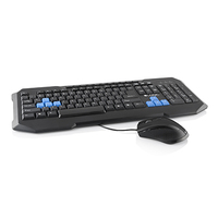 LOGIC Gaming Set LKM-200, USB, Ergonomic Gaming keyboard and gaming mouse with a sensitive optical sensor, Color: Black + Gaming keys in blue color, 11 multimedia keys