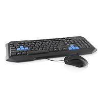 LOGIC Gaming Set LKM-200, USB, Ergonomic Gaming keyboard and gaming mouse with a sensitive optical sensor, Color: Black + Gaming keys in blue color, 11 multimedia keys