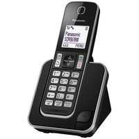 "PANASONIC KX-TGD310FXB, DECT cordless telephone with CURVED headset, Black color, 1.8"" Illuminated LCD Display, Caller ID, 120 numbers in phonebook, 50 numbers dialed memory, Baby monitor, conference call, clock, handset locator, wall mountable, Rech"
