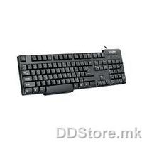 Delux DLK-8050P Standard Keyboard with Palmrest, Keystroke lifetime: 10 million cycles, Injection black, PS/2 port, US layout, DELUX logo, Color box packing