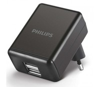 Philips DLP2209/12, Wall charger with two USB ports. Charge smartphones and most USB devices. Work with iPhone, Nokia, Samsung, Blackberry and more. 5V/1A charging. 2 USB ports for multiple charging at the same time. Slim portable design.