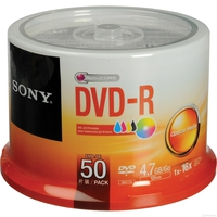 DVD-R 4.7GB 16x Sony 50DMR47PP 50pcs InkJet printable