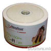 Nashua CD-R White inkjet printable 52x, A Grade, 700MB, 80mins, 50pcs bulk