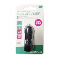 USB Universal Car Charger Omega 3.1A Dual Socket Black