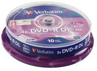 Verbatim DVD+R 8x,8.5GB,Double Layer, Spindle 10pack , Matt Silver