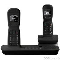 Telefunken DECT Phone TC 251 Duo Colombo with touch panel and answering machine, 2x pcs Black, Big Blue display, Lighted keyboard, Handsfree/Speakerphone, caller ID, Alarm function, polyphonic mellodies, 50 contacts, 300m range